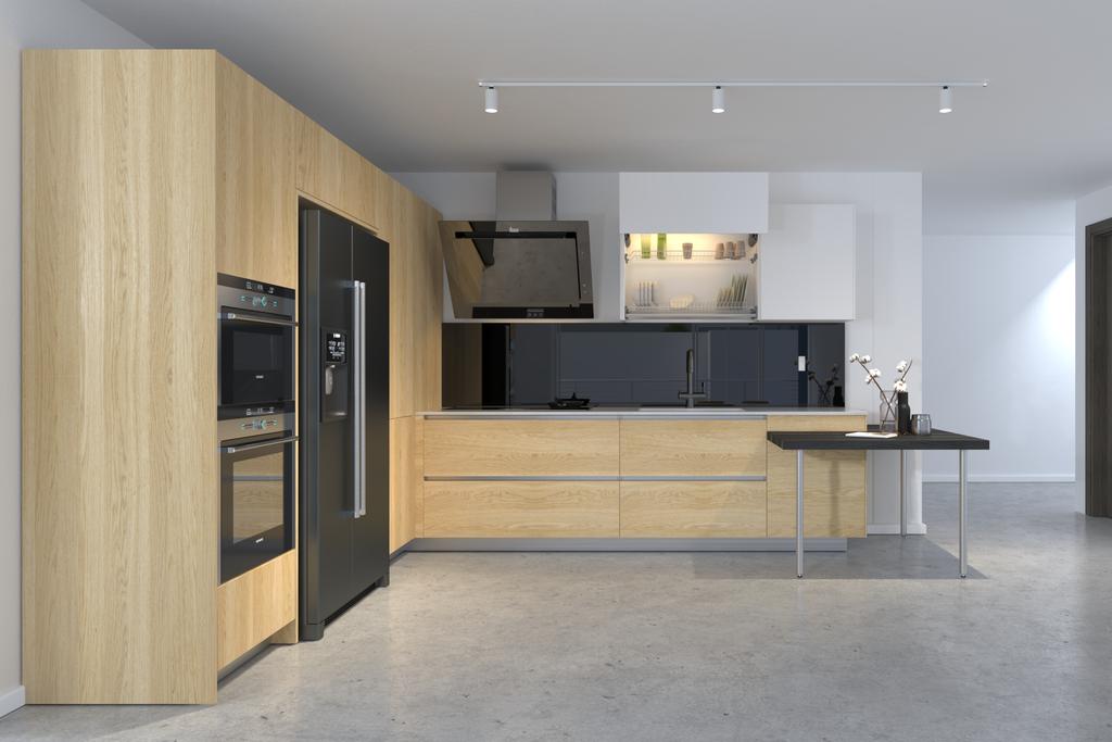 Tận dụng ánh sáng cho không gian tủ bếp gỗ