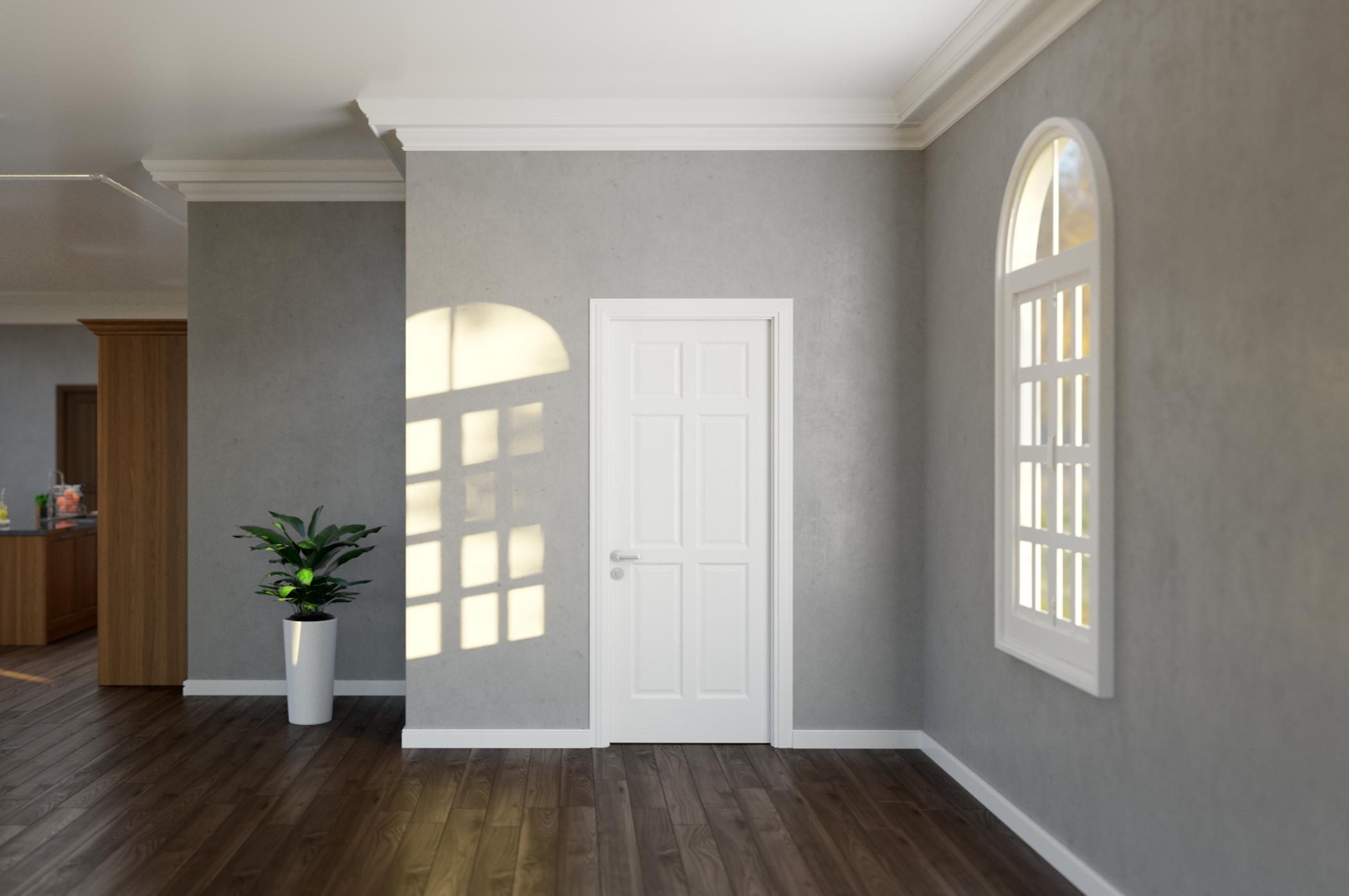 Cửa gỗ trắng giúp không gian như rộng và thoáng hơn