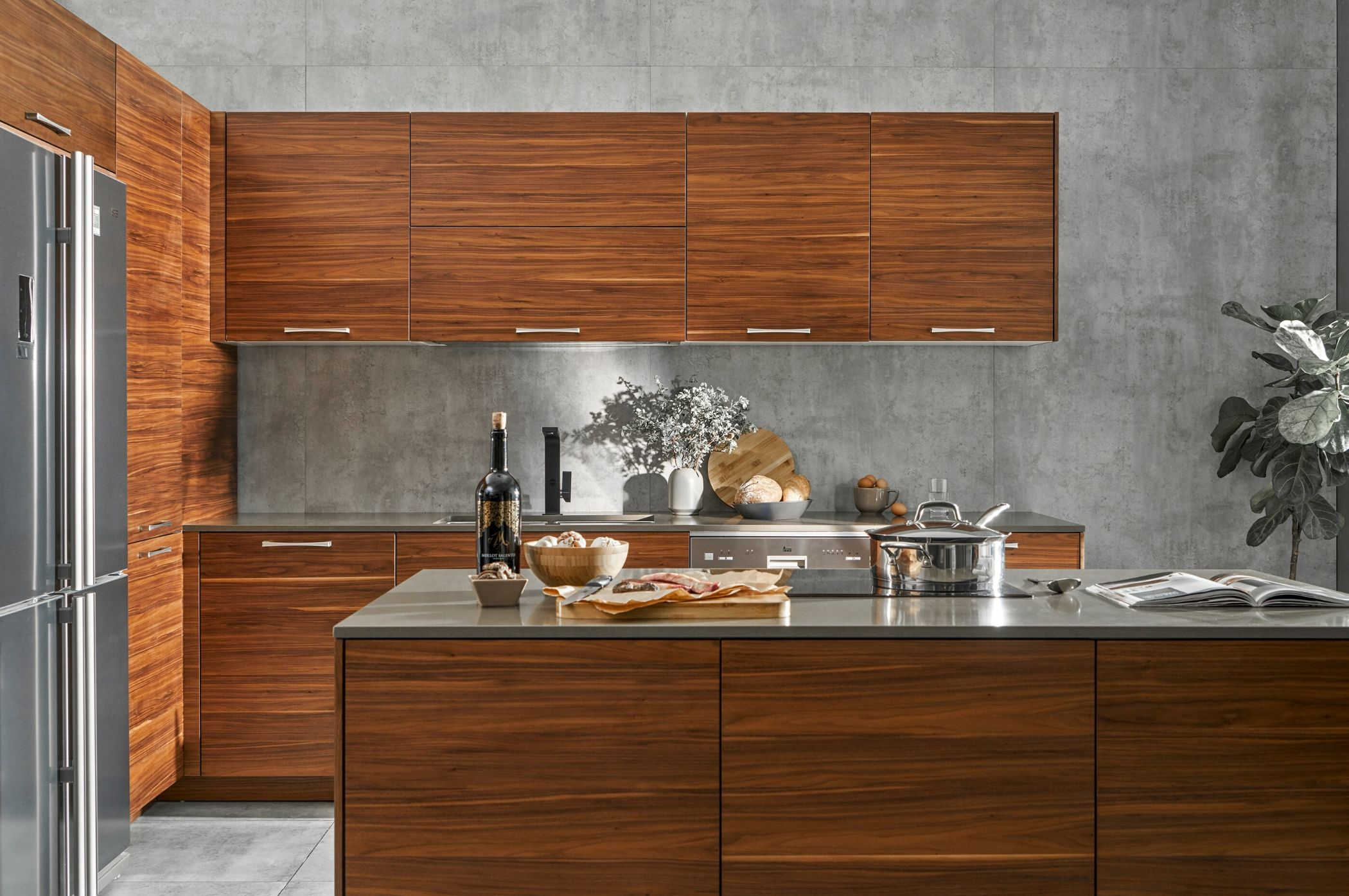 Incredible natural wood kitchen cabinets made of walnut ...